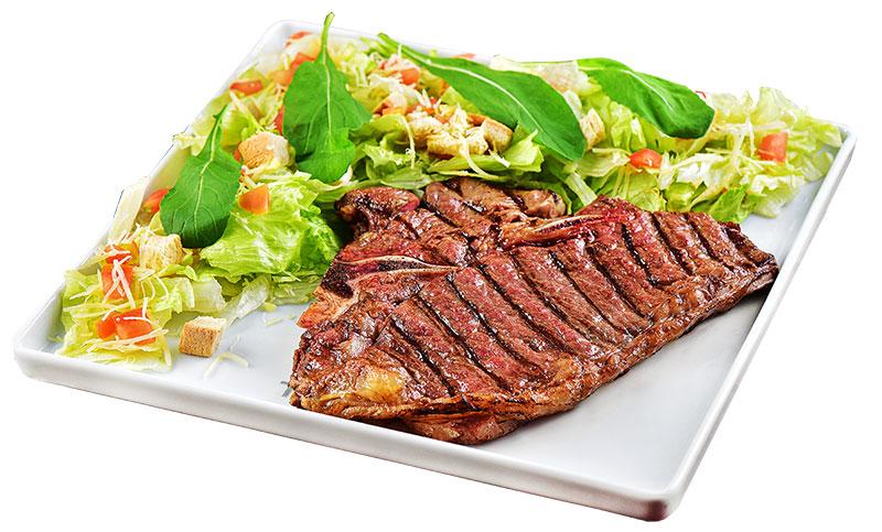 t-bone + salada